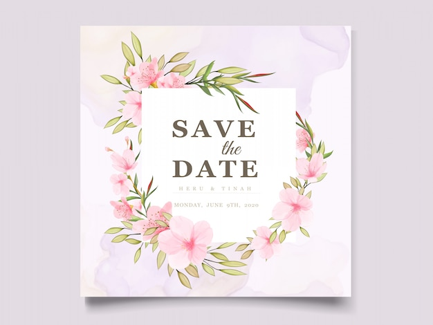 Modello di carta elegante fiore di ciliegio dell'acquerello Vettore gratuito