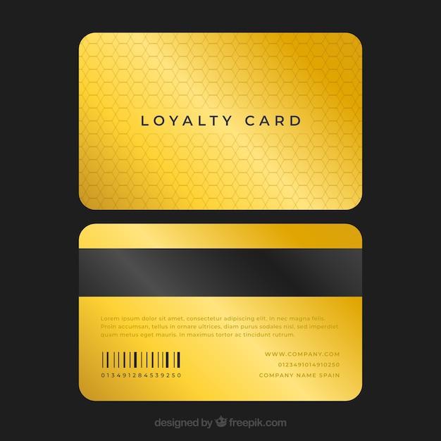 Modello di carta fedeltà elegante con stile dorato Vettore gratuito