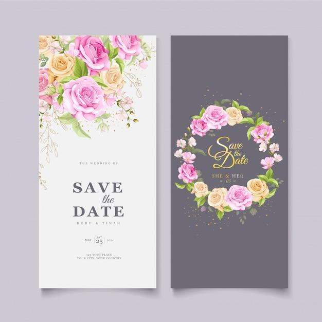 Modello di carta floreale elegante corona di nozze Vettore gratuito