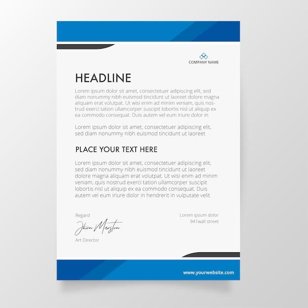 Modello di carta intestata con colori blu Vettore gratuito