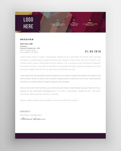 Modello di carta intestata moderna creativa Vettore Premium