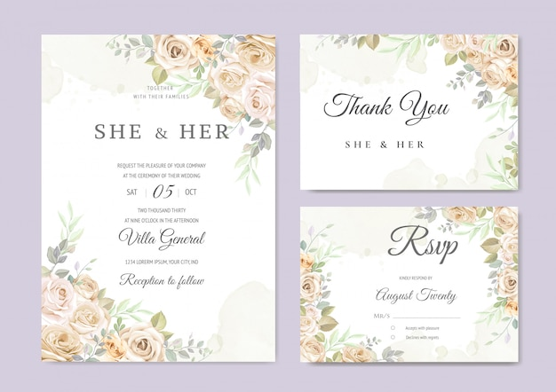 Modello di carta invito bellissimo matrimonio Vettore Premium