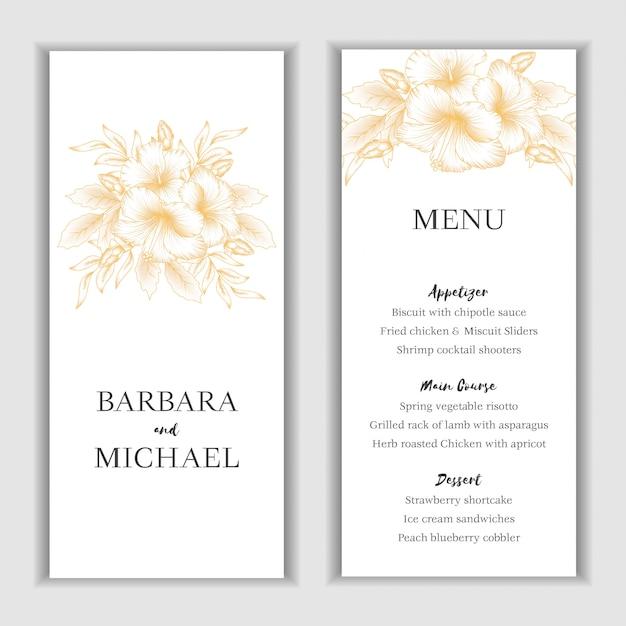 Modello di carta menu floreale ibisco dorato Vettore Premium