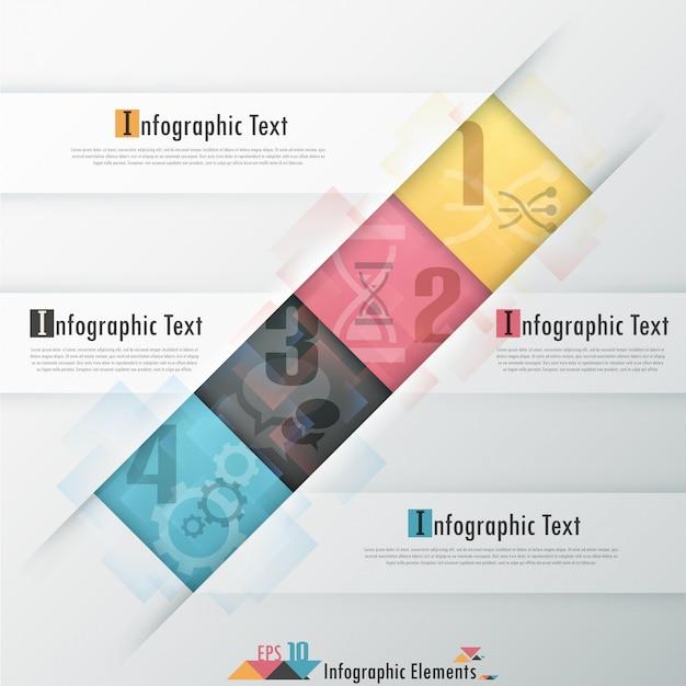 Modello di carta moderna infografica con rettangoli Vettore Premium