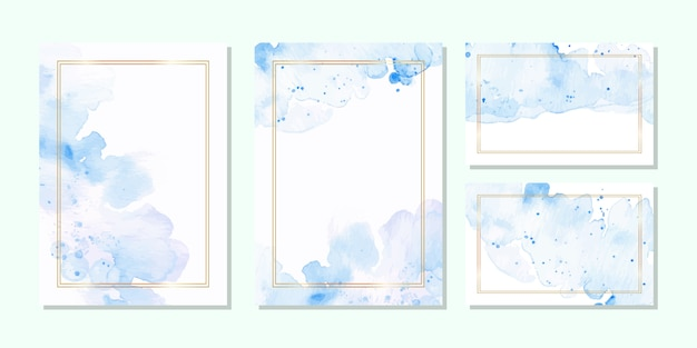 Modello di carta multiuso in acquerello blu e cornice dorata Vettore Premium