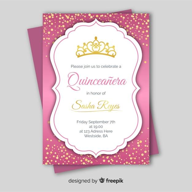 Modello di carta quinceanera coriandoli d'oro Vettore gratuito