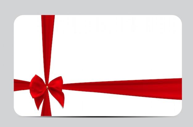 Modello di carta regalo con nastro di seta rosso e fiocco. illustra Vettore Premium