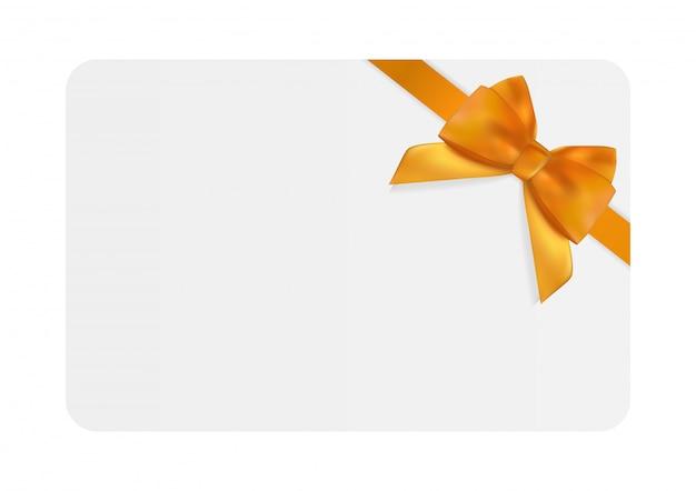 Modello di carta regalo vuoto con fiocco e nastro arancione Vettore Premium