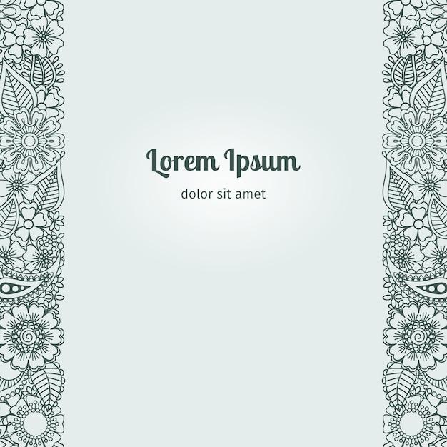 Modello di carta stile fiori hennè mehndi Vettore Premium