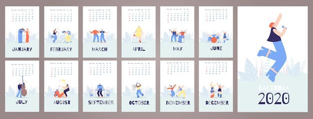 Modello di carte calendario 2020 stile musica persone Vettore Premium