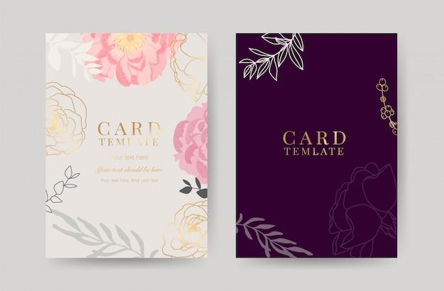 Modello di carte di invito matrimonio di lusso Vettore Premium
