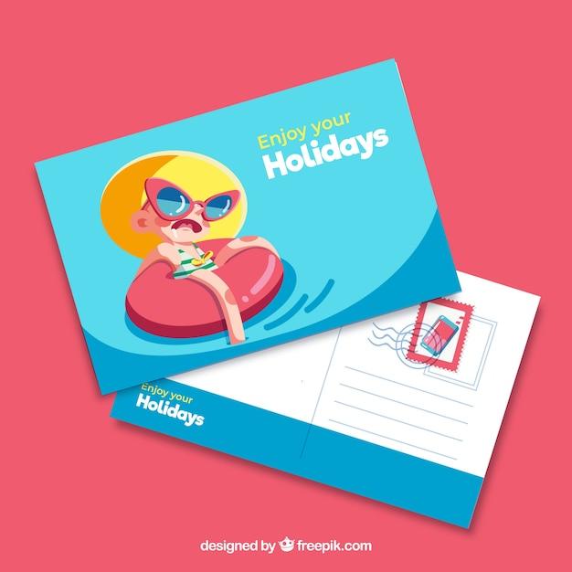 Modello di cartolina di vacanza estiva Vettore gratuito