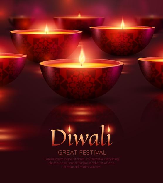 Modello di celebrazione di diwali Vettore gratuito
