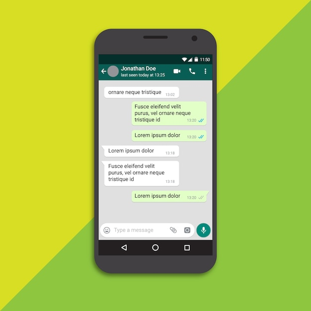 Modello di cellulare con schermo di chat Vettore Premium