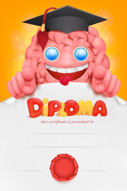 Modello di cert del diploma del personaggio dei cartoni animati del cervello Vettore Premium