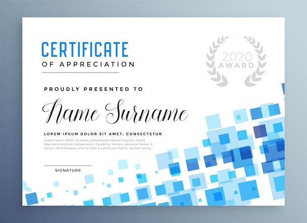 Modello di certificato astratto blu stile mosaico Vettore gratuito