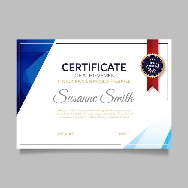 Modello di certificato astratto Vettore gratuito