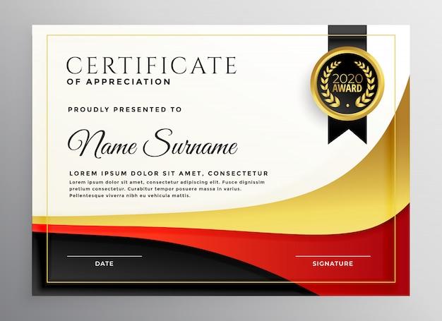 Modello di certificato aziendale rosso e oro Vettore gratuito