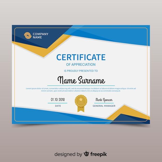 Modello di certificato colorato con design piatto Vettore gratuito