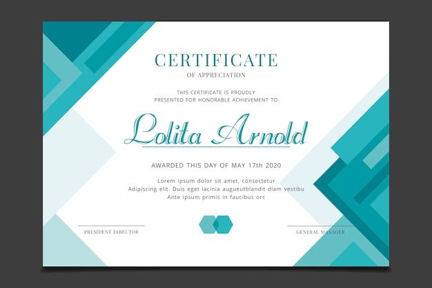 Modello di certificato con concetto geometrico Vettore gratuito