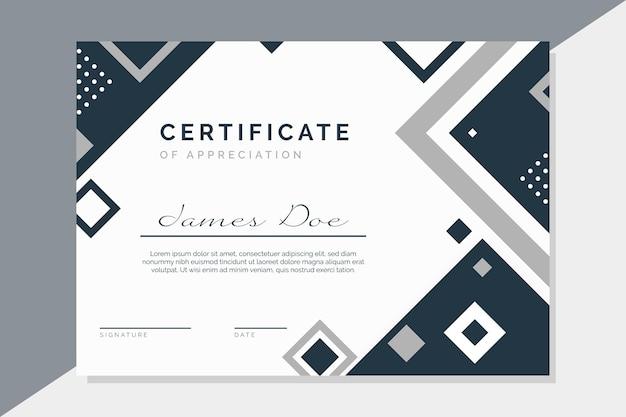 Modello di certificato con elementi moderni Vettore gratuito