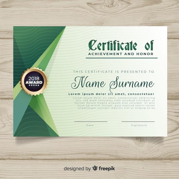 Modello di certificato con forme astratte Vettore gratuito