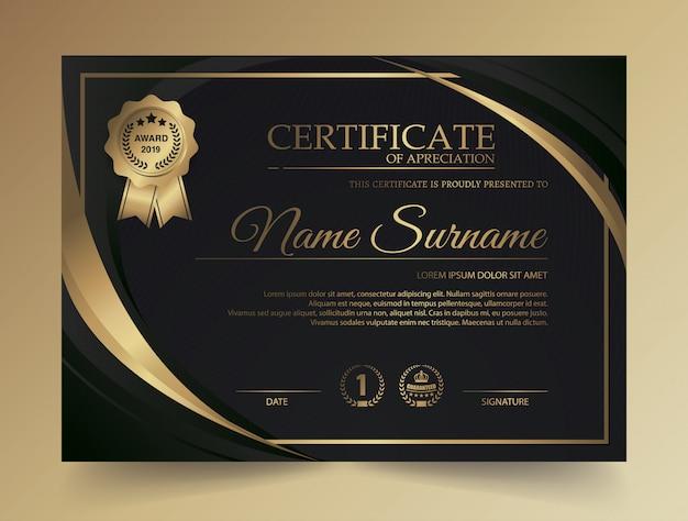 Modello di certificato con modello di lusso e moderno, diploma, illustrazione vettoriale Vettore Premium