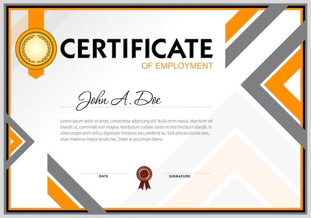 Modello di certificato di assunzione vuoto Vettore Premium