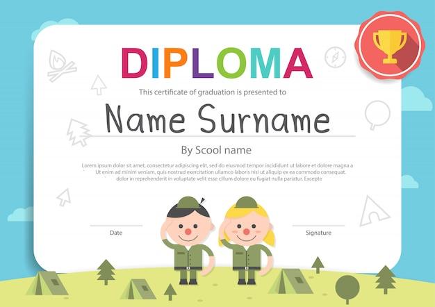 Modello di certificato di campeggio per bambini Vettore Premium
