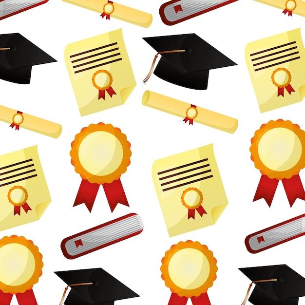 Modello di certificato di diploma di scorrimento cappello cappello di laurea Vettore Premium