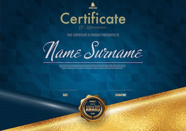 Modello di certificato di lusso e stile diploma Vettore Premium