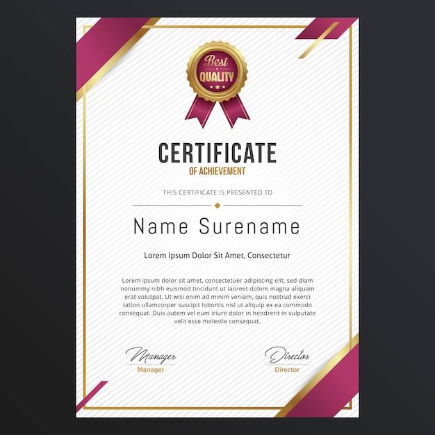 Modello di certificato di lusso Vettore Premium