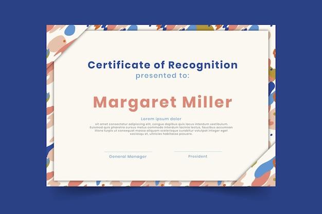 Modello di certificato di riconoscimento certificato Vettore gratuito