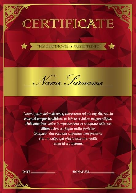 Modello di certificato e diploma verticale rosso e oro con motivo vintage, floreale, a filigrana e carino per il vincitore. vuoto del buono premio. vettore Vettore Premium
