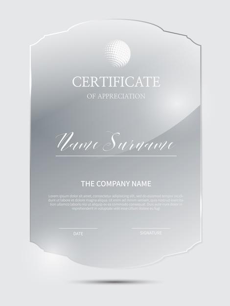 Modello di certificato elegante con cornice in materiale di vetro Vettore Premium