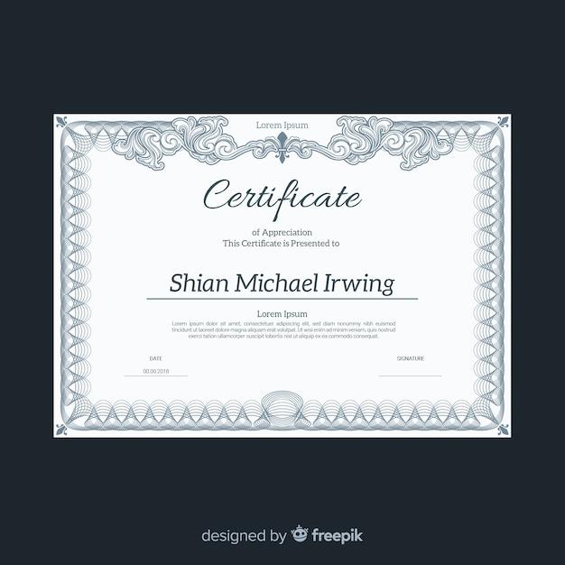 Modello di certificato elegante con design vintage Vettore gratuito