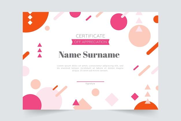 Modello di certificato geometrico colorato Vettore gratuito