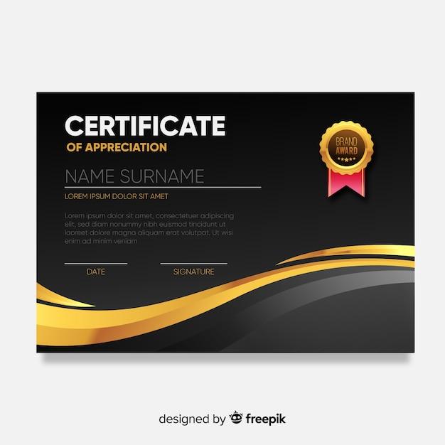Modello di certificato moderno con design piatto Vettore gratuito