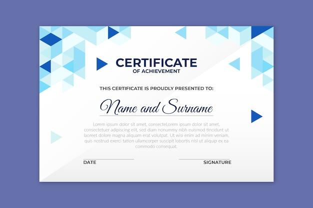 Modello di certificato nel concetto geometrico Vettore gratuito