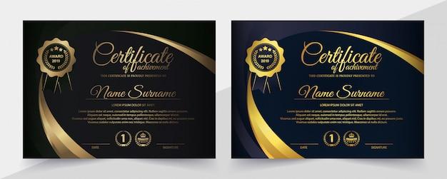 Modello di certificato nero premium Vettore Premium