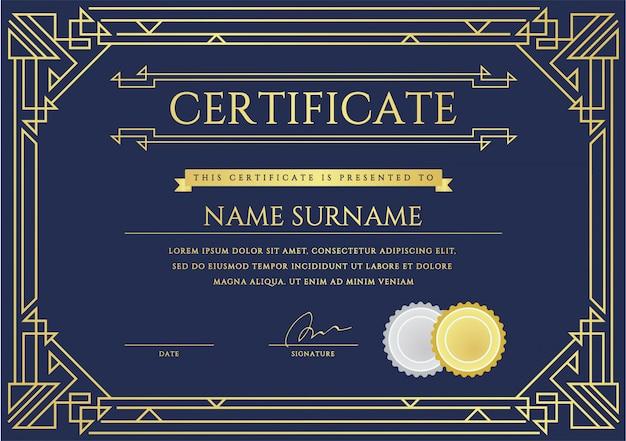 Modello di certificato o diploma. Vettore Premium
