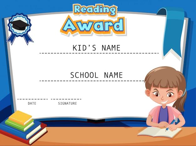Modello di certificato per la lettura del premio con il libro di lettura della ragazza Vettore Premium