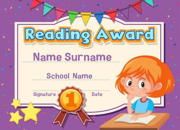 Modello di certificato per la lettura del premio con la lettura della ragazza Vettore Premium