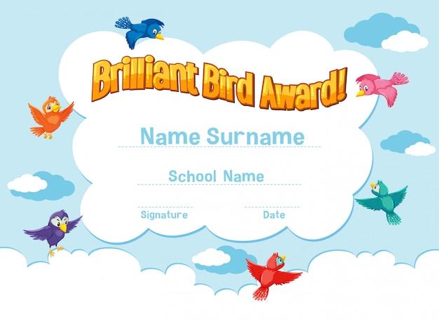 Modello di certificato per premio uccello brillante con uccelli che volano nel cielo Vettore Premium