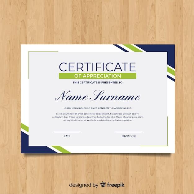 Modello di certificato piatto moderno Vettore gratuito