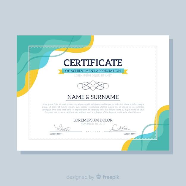 Modello di certificato piatto Vettore gratuito