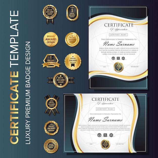 Modello di certificato professionale con badge Vettore Premium