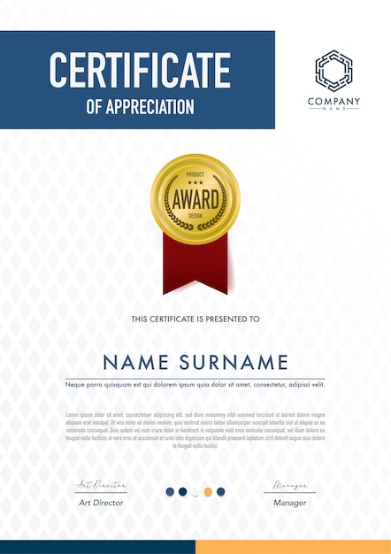 Modello di certificato stile moderno, lusso e diploma, illustrazione vettoriale. Vettore Premium