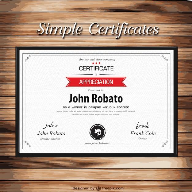 Modello di certificato su struttura di legno Vettore gratuito