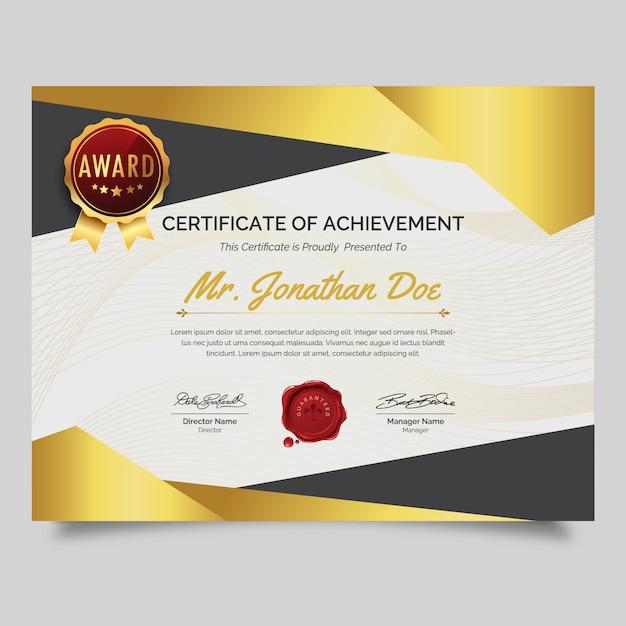 Modello di certificato Vettore Premium